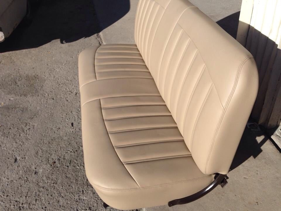 custom bench seat for 1956 ford f100 all tan interior red. Black Bedroom Furniture Sets. Home Design Ideas