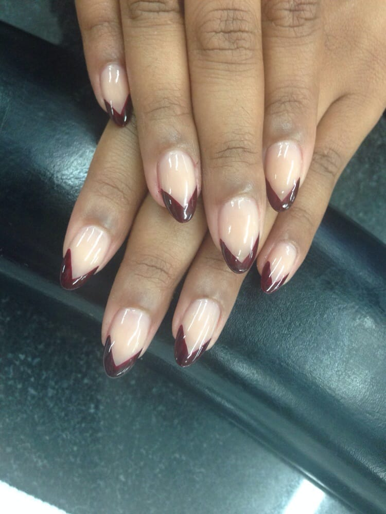 Almond French Acrylic Nails images