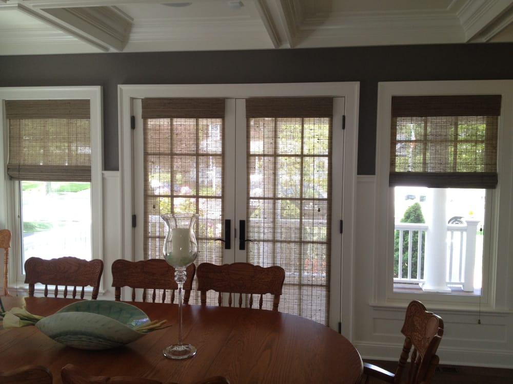 Natural Woven Wood Shades Are Great For French Doors And
