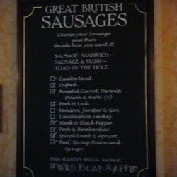 the oresome and unique sausage menu at Woodins Shades