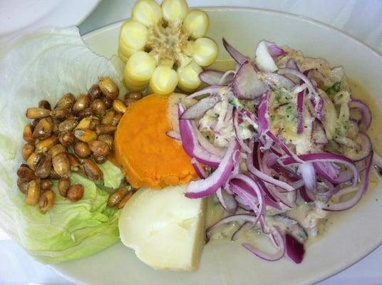 ... ceviche with potatoe, Peruvian corn, fried corn, & sweet potato   Yelp