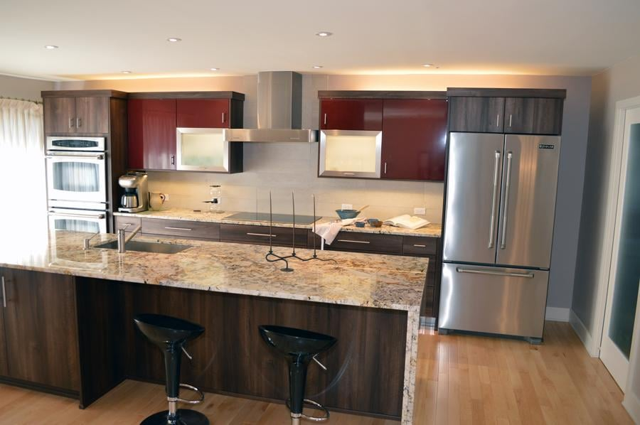 Contemporary kitchen remodel granite countertops island for Kitchen design yelp