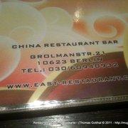 """Restaurant """"East"""", Speisekarte"""