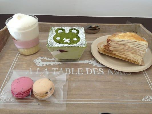 ... bean / Vanilla Mille Crepe Cake / Raspberry & Lavender Macarons | Yelp