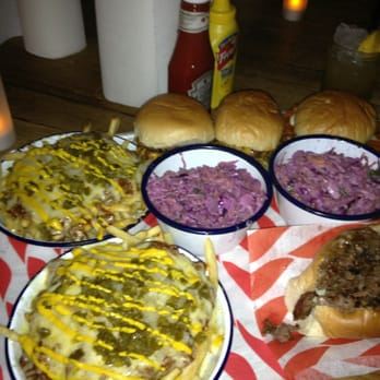 2 dead hippie burgers, a chicken burger, mushroom Philly burger, 2 chilli fries and 2 portions of slaw.. More than enough!