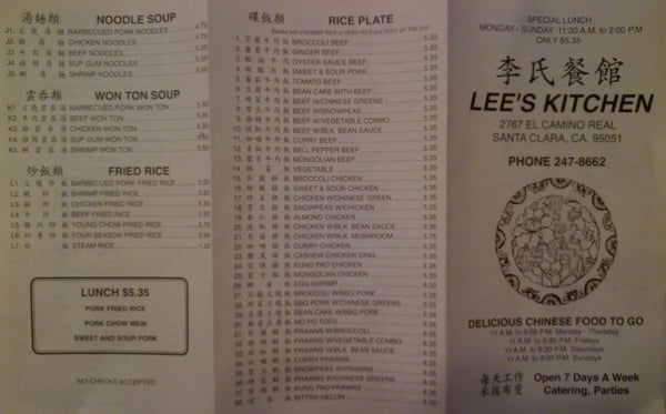 Lee s Kitchen Menu 1 of 2 As October 2012 i