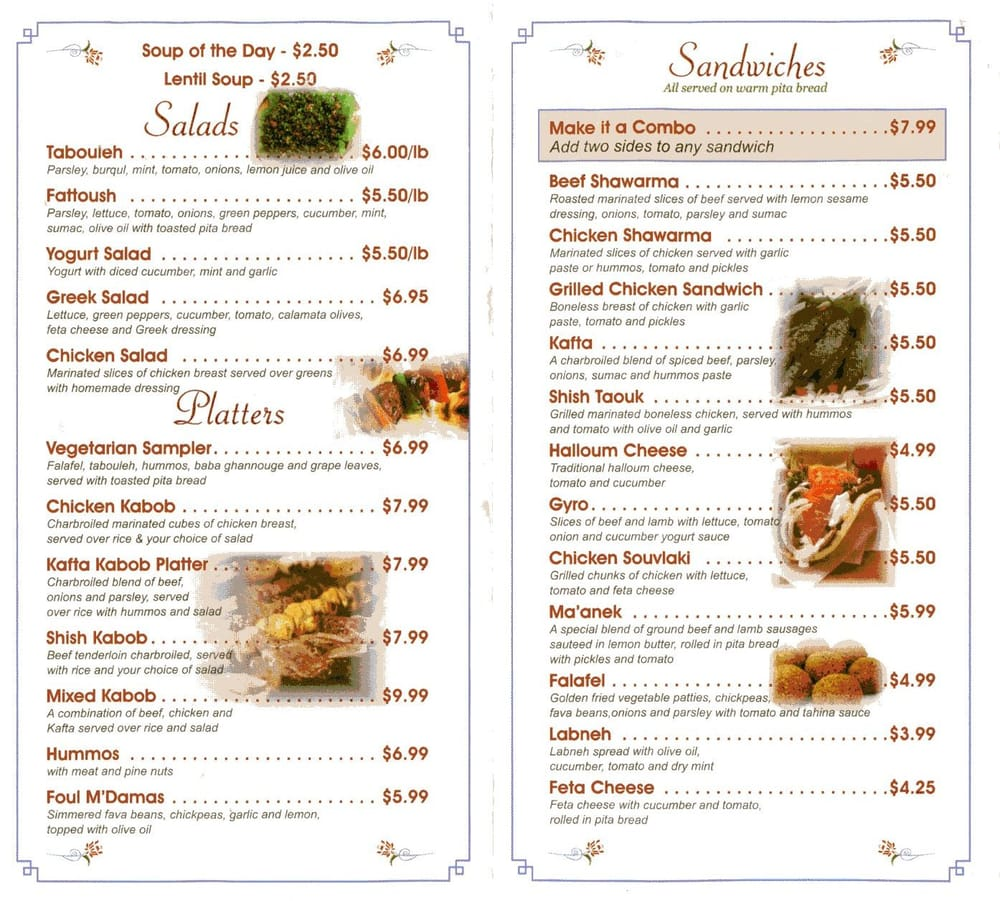 Menu salads platters and sandwiches yelp for Alexandria mediterranean cuisine menu