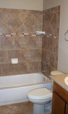 ceramic tile surround bathtub, main bathroom | yelp