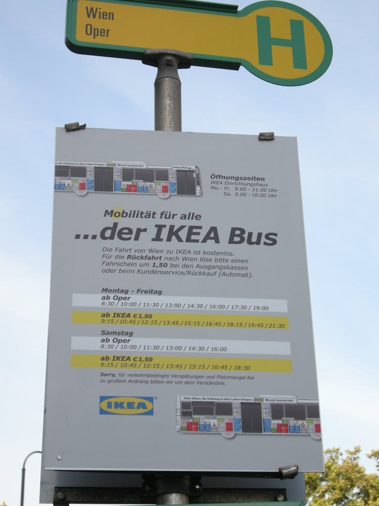 Ikea bus closed transportation innere stadt vienna for Ikea driving directions