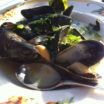 ... - Los Angeles, CA, United States. Steamed mussels in sake broth