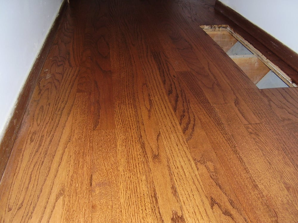 Refinished red oak with english chestnut stain a repair of for Cat urine on hardwood floors