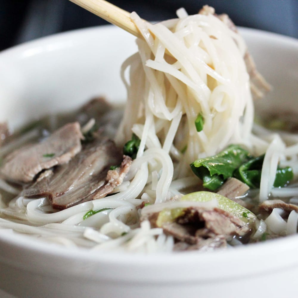 ... - Long Island City, NY, United States. Beef pho in oxtail broth