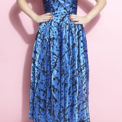 1980s Terence Nolder vintage blue party dress
