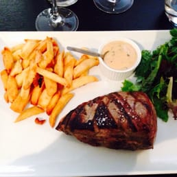 Steak and frites (served bleu). Perfect!