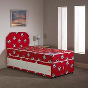 FOOTBALL DIVAN BED WITH 7 INCH SEMI ORTHOPAEDIC MATTRESS HEADBOARD AND SLIDE STORAGE £120.00
