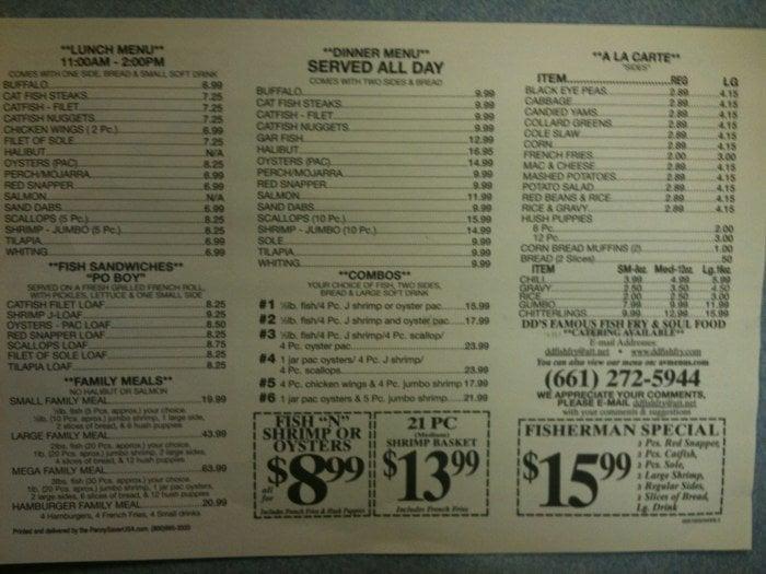 Fish fry menu yelp for Prime fish menu