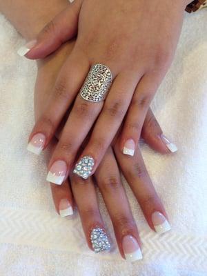 white tip acrylics with diamond designelegant nails  yelp