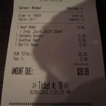 Himalayan Yak Restaurant - Party of two totals $28.69, note gratuity guideline below - Jackson Heights, NY, Vereinigte Staaten