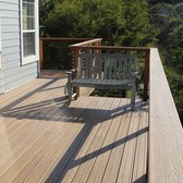 M & M Builders Deck and Arbors - San Jose, CA, United States. New Trex deck extension with wrap-around to new deck.