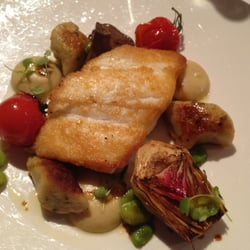 Fried Halibut with Gnocchi and veggies