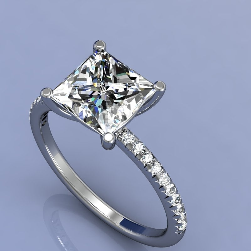 Luna Jewels - Princess cut engagement ring with micro pave'd diamonds ...