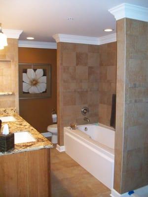 Master Bathroom Custom Stone Work Crown Moldings