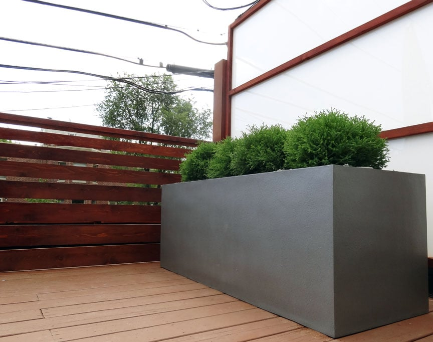 Roof deck privacy screens fiberglass planters yelp for Privacy planters for decks