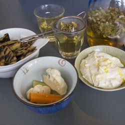 greek mountain tea and fava bean spread
