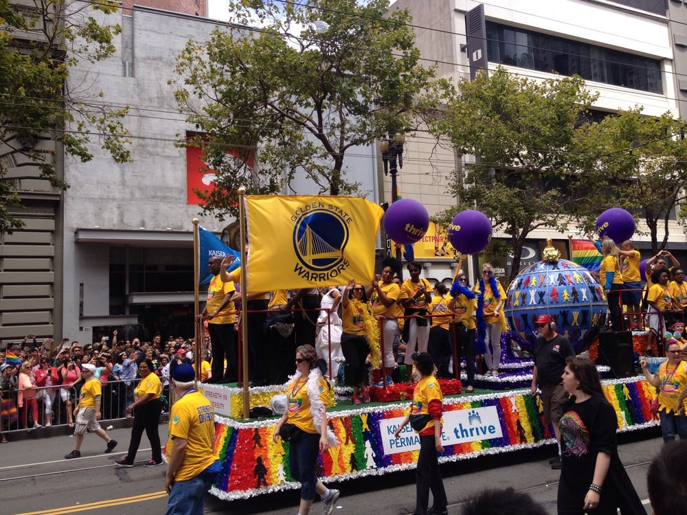 LBGT Pride Flag On Display During A Parade Editorial Photo