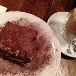 Latte and tiramisu