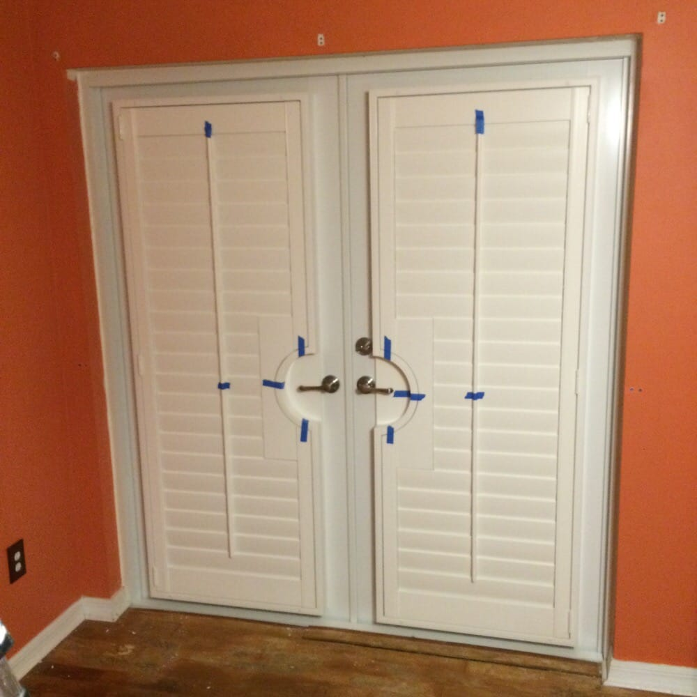 Plantation Shutters With Handle Cutouts Mounted On French Doors Yelp