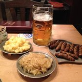 Nuremberg sausages, wine kraut, potato salad with a maß of Edelhell bier straight from a freshly popped barrel.