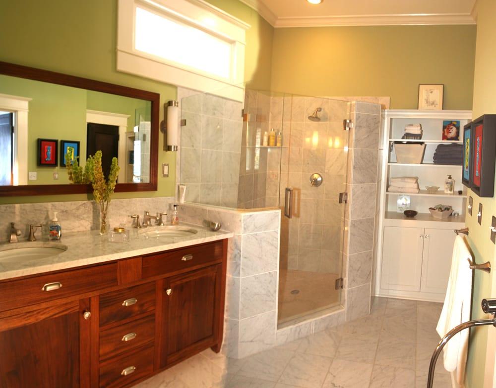 Custom bathroom renovation with italian marble mahogany for Custom bathroom renovations