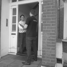 Nicholas Miles meeting a customer for a Green Deal Assessment!