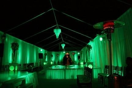 Outdoor Fabric Tent And Wall Draping With Led Colored