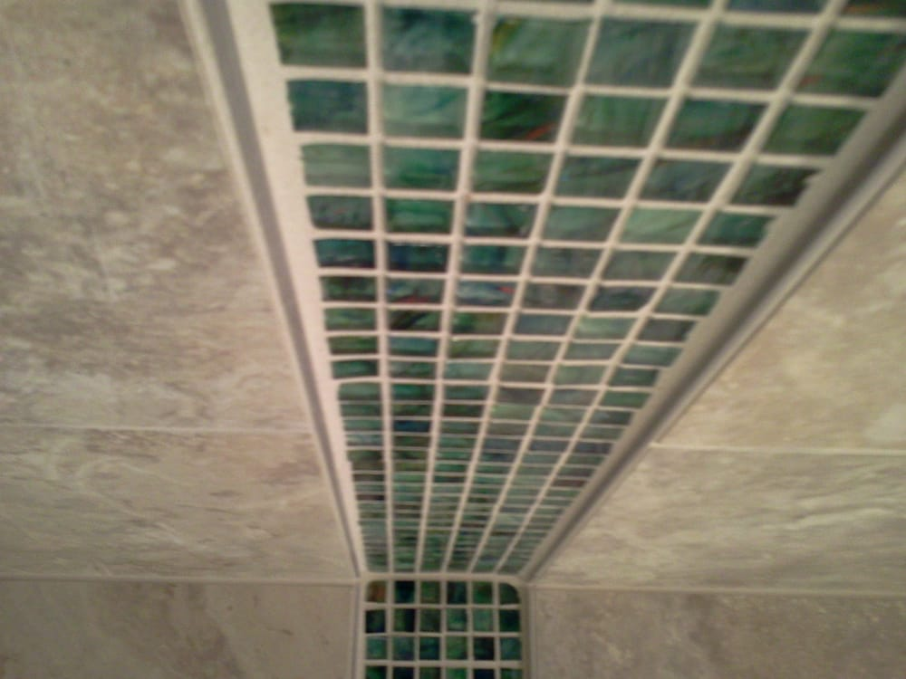 Glass Mosaic Shower 4 Band With Schluter Strip Border Yelp
