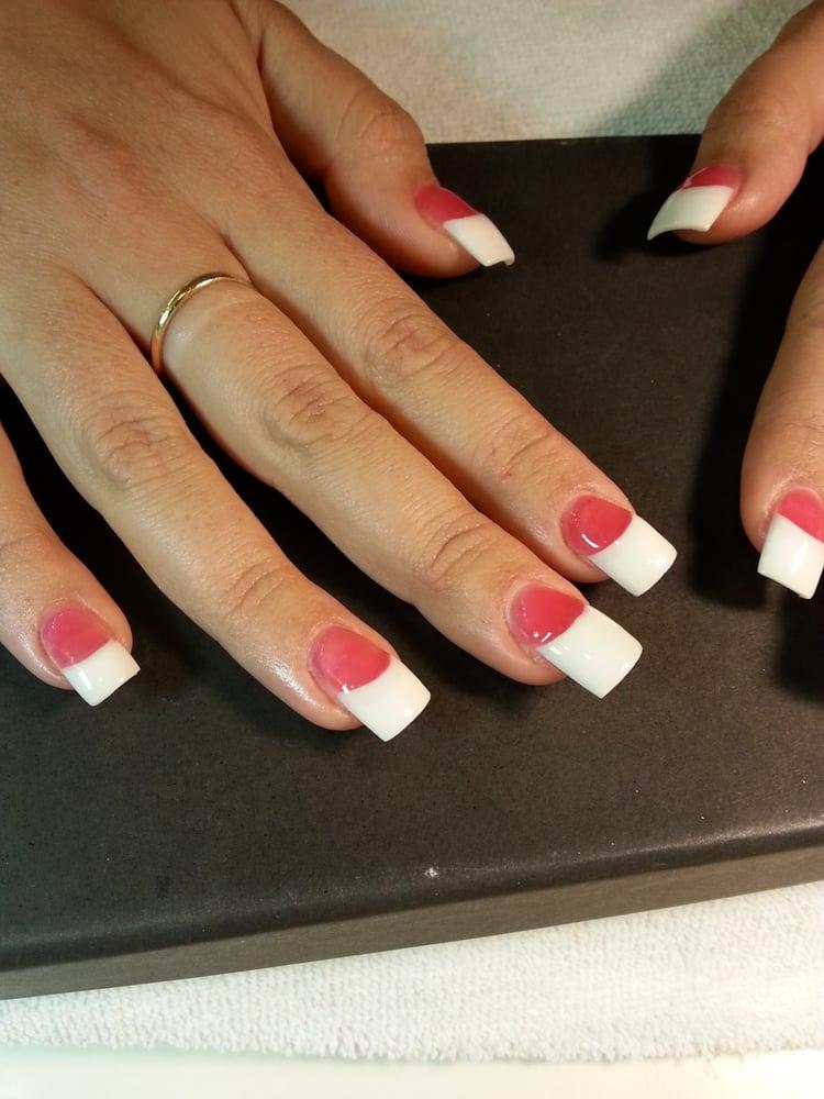 Dark pink white powder acrylic nails by mai yelp for Acrylic nails at salon