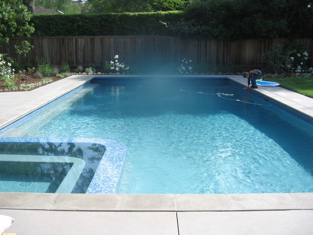 Glass tile and spa built into pool yelp for Built in pools