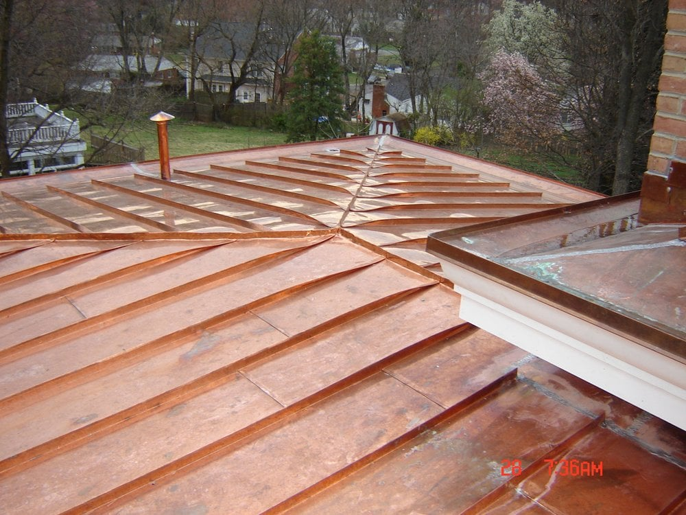 Custom 16oz copper standing seam roofing and soldered for Copper standing seam roof