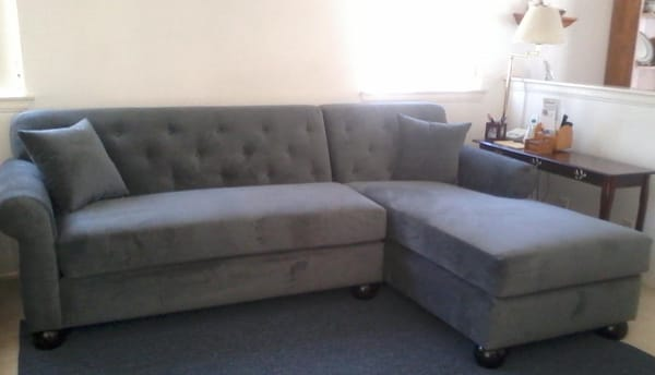 sofa w chaise tufted back thunder gray with rolled arms perfection yelp. Black Bedroom Furniture Sets. Home Design Ideas