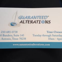 Guaranteed alterations sewing alterations san for Business cards in san antonio