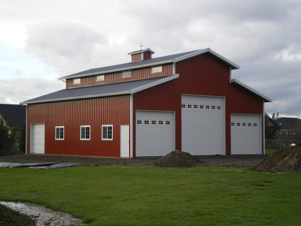 Custom pole building shop monitor style barn with for Log pole barn