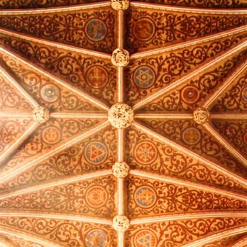 Hereford's famous fan-vaulted roof with its colourful decoration and elaborate ceiling bosses.