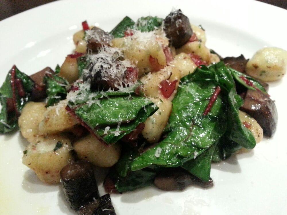 ... Ricotta and chives gnocchi Rainbow Swiss chards, Portabella mushrooms