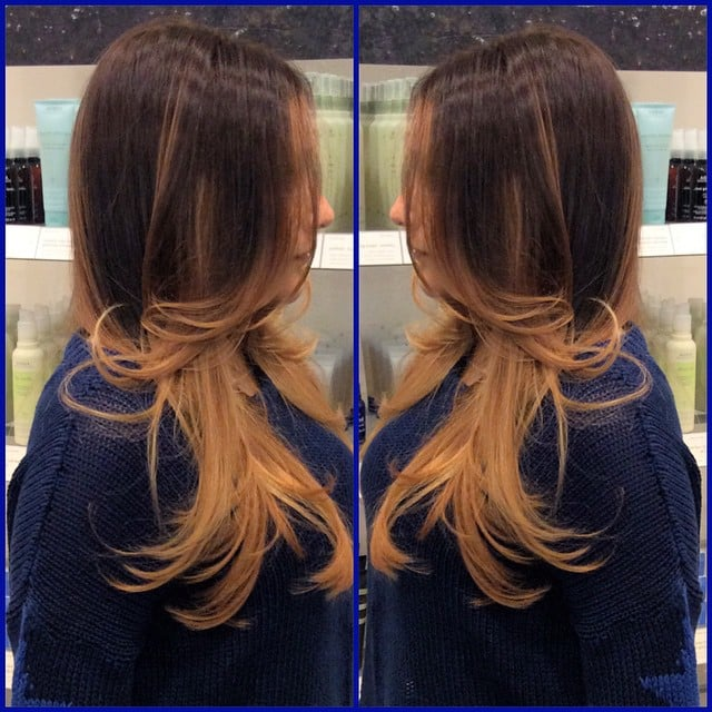 A honey blonde ombre balayage highlights on a natural for A la mode salon brooklyn