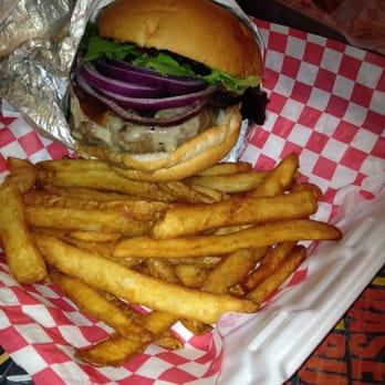 basement burger bar mushroom burger i added red onions and bacon