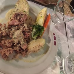 La Mère Jean - Lyon, France. Sausage, potato, carrot and broccoli in a mustard cream sauce with white wine.
