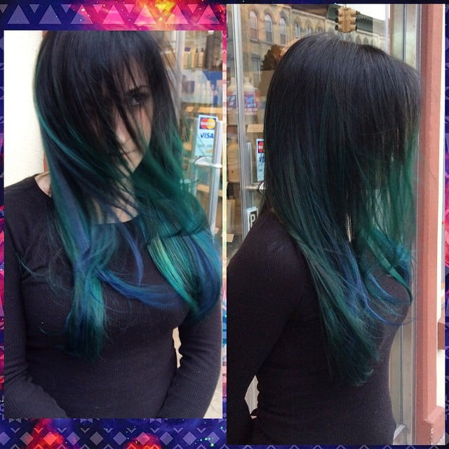 A soft black base with a teal blue ombre highlights yelp for A la mode salon brooklyn