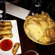 Shrimp Chips and Spring Rolls