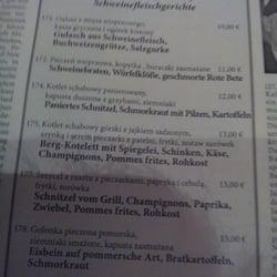 Speisekarte in Deutsch und polnisch